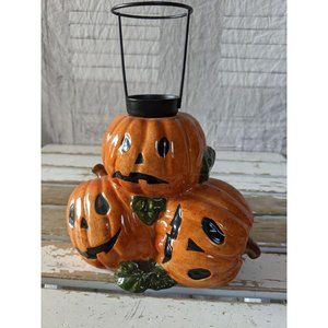 Russ pumpkin fall candle decor distressed ceramic